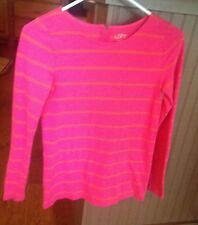 ann taylor loft womens long sleeve top size XS bright pink stripe