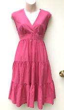LEONA EDMISTON *Leona* Pink Linen/Cotton Summer Tiered Dress sz XS / 8