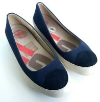 FitFlop Due Womens Size 9 Navy Slip On Ballet Flat Pump Toe Cap Comfort Shoes
