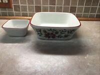 "2 LONGABERGER Pottery NATURE'S GARLAND 9 1/2"" & 5"" Square Vegetable Bowls"