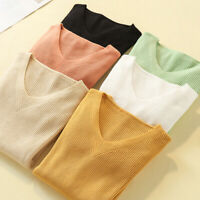 Women Knitted Sweater Long Sleeve Tops V Neck Jumper Slim Pullover Knit Top
