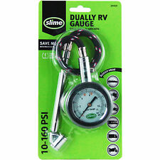 slime DUALLY RV TIRE GAUGE • 10-160 PSI AIR PRESSURE Dual Head Bleeder Valve SUV