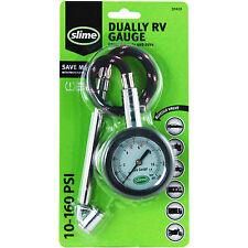 slime DUALLY RV TIRE GAUGE • 10-160 PSI AIR PRESSURE Dual Head Bleeder Valve SUV
