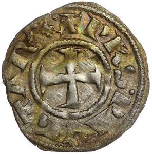 Crusader Denier Tournois Coin, Philip II of Taranto, Achaea, Silver. XF. Rare