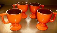 Frankoma Flame 4 mugs Westwind Orange red 6 oz C13 footed pedestal