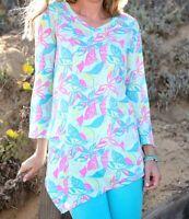 FRESH PRODUCE XL Seaglass BLUE Beachside Bloom ELLA Pocket TUNIC Top $69 NWT New