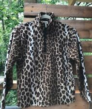 KIDS LAVON GIRL M 10-12 FUZZY FLEECE SHIRT LEOPARD PRINT ZIP TOP L/S RUSSIA MADE