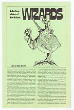 "Wizards 1977 Original Program Double Sided 8.5"" x 13"" 20th Century Ralph Bakshi"