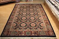 """5'5"""" X 8' Handmade TRADITIONAL Hand Knotted Rug Navy Blue floral design #PM75"""