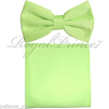 New Lime Green Men's pre tied Bow tie & Pocket Square Hankie set wedding Prom