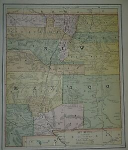 1887 Railroad, Indian Reservation & County Map ~  NEW MEXICO TERRITORY