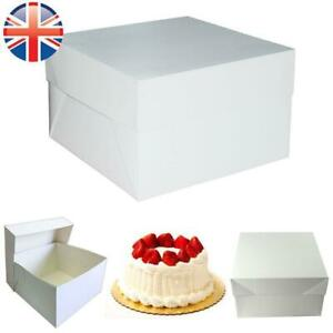 """WHITE CAKE BOXES WITH LID 8"""",10"""",12"""",14,16 & 18"""" inch for Wedding,Birthday Party"""