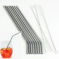 8xStainless Steel Metal Drinking Straw Reusable Straws+3 Cleaner Brush Cocktail