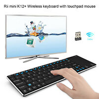Newly Rii k12+ mouse key wireless mini keyboard  with touchpad for Android PC