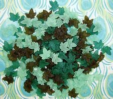 LOOSE ACRYLIC-LUCITE BEADS-MAPLE LEAF-LEAVES-GREEN-BROWN-45 BEADS-PLUS FREE GIFT