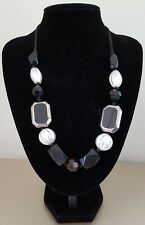 COSTUME JEWELLERY Black White Glass Wood Stone Round Beaded Statement Necklace