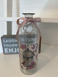 Vintage style shabby Glass Vase Bottle With Heart Attachment Parisian Birdcage