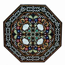 Marble Top Coffee Table Pietra Dura Rare Inlay Antique Mosaic Victorian AZ5347