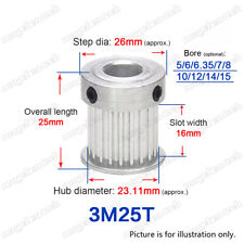 3M25T Timing Pulley 25 Teeth Gear Wheel 5-15mm Bore 3mm Pitch for 15mm Wide Belt
