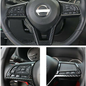 Fit For NISSAN ROGUE 2017-2020 Carbon fiber ABS Inner Steering Wheel Cover Trim