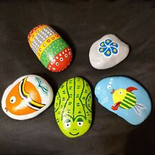 New listing Under The Sea Hand Painted Rock Art Sealed Inside/Outdoor Fish Amphibian Stone
