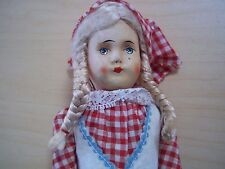 "Vintage Antique Composition + Cloth 9"" Red Riding Hood Doll"