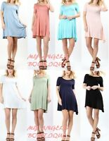 Women Short sleeve Flowy Mini Dress Round Neck Tunic Swing top S M L