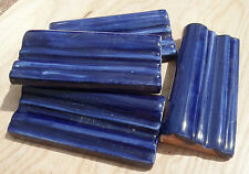 50~ Talavera Cobalt blue 4.25 X 2 inch Chair rail clay Liner trim tile Mexico