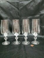 Vintage BOHEMIAN  Czech Crystal Claudia Champagne Flutes set of 4