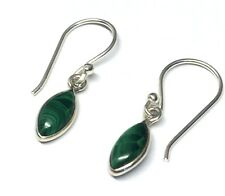 Handmade in 925 Sterling Silver Real Malachite Marquise Drop Earrings & Gift Bag