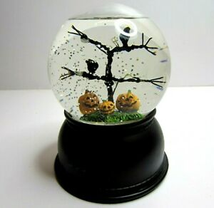Light Up Halloween Snow Globe Pumpkins Ravens Tree