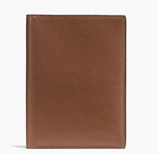 Authentic! Dark Saddle COACH Pebbled Leather Passport Case Travel Wallet F93604