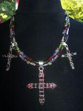 Sterling Garnet Peridot Amethyst Citrine Multi Stone CROSS Charm Bead Necklace