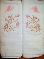 Asian Cherry Blossom Butterfly Bathroom Set HAND TOWELS EMBROIDERED