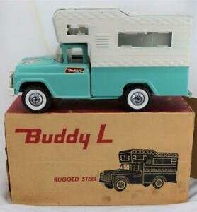 Vintage Buddy L 5434 Rugged Steel Camper Truck w/Original Box