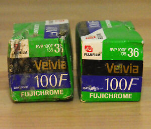 2x36 EXP. CASSETTES OF FUJICHROME 100F VELVIA EXP. 2005, BUT ALWAYS REFRIGERATED