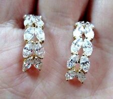 Gorgeous 14k Yellow Gold Half-Hoop Earrings with Dazzling Cubic Zirconias CZ