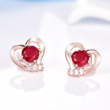 Fashion Women Rose Gold Filled Charms Red Ruby Crystal Heart Stud Earrings 7mm