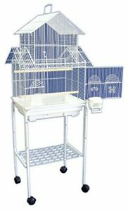 """YML 5844 3/8"""" Bar Spacing Pagoda Bird Cage with Stand 18"""" x 14""""/Small White"""