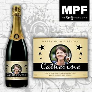 Personalised Photo Champagne/Prosecco Bottle Label (Birthday/Any occasion) (GLD)