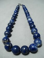 EXQUISITE NAVAJO NATIVE AMERICAN LAPIS STERLING SILVER NECKLACE