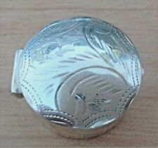Vintage Engraved Silver Round Pill Box Stamped 925
