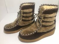Quoddy Moccasin Boots Brown Suede Faux Fur Lined Lace Up  Women's Size 5
