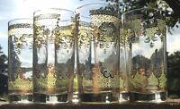 "Vintage Ornate Gold Leaf Print 12oz High Ball Glasses (6) 2 3/4 X 5 3/4"" Nice!"