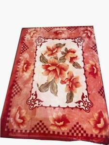 Orange red super soft fleece throw bed sofa cover Extra large floral flower NEW