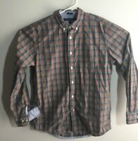 Tommy Hilfiger mens size Medium Button Up Dress L/S Shirt Gray Red Blue Plaid