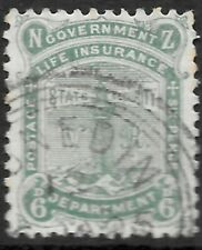 More details for new zealand 1891 6d green life insurance, fu triple ringed cds. sg l5.
