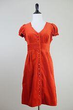 ANTHROPOLOGIE Maeve Burnt Orange Velvet Dress, Lace Trim, Size 4
