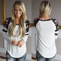 New Women Floral Splice Printing Long Sleeve Tops Cotton Pullover Blouse T-Shirt