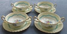 FOUR Minton Ardmore Cream Soup Bowls With Saucers Underplates Sets Old Mark Mint